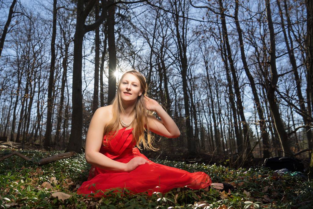 Maren in her lovely red dress